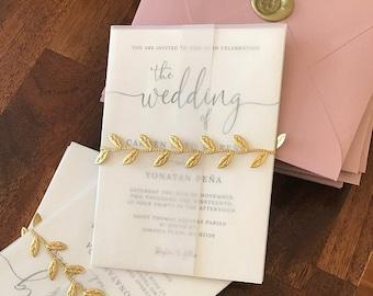 Vellum Wrap For 5 x 7 Invitations Vellum Jackets Vellum Paper Supplies Vellum Invitation Wrap Wedding Paper Supplies, Gold Leaf Wrap
