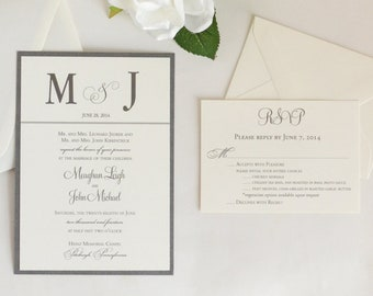 Silver and Lace Wedding Invitation, Silver Wedding Invitation, Lace Wedding Invite with Monogram
