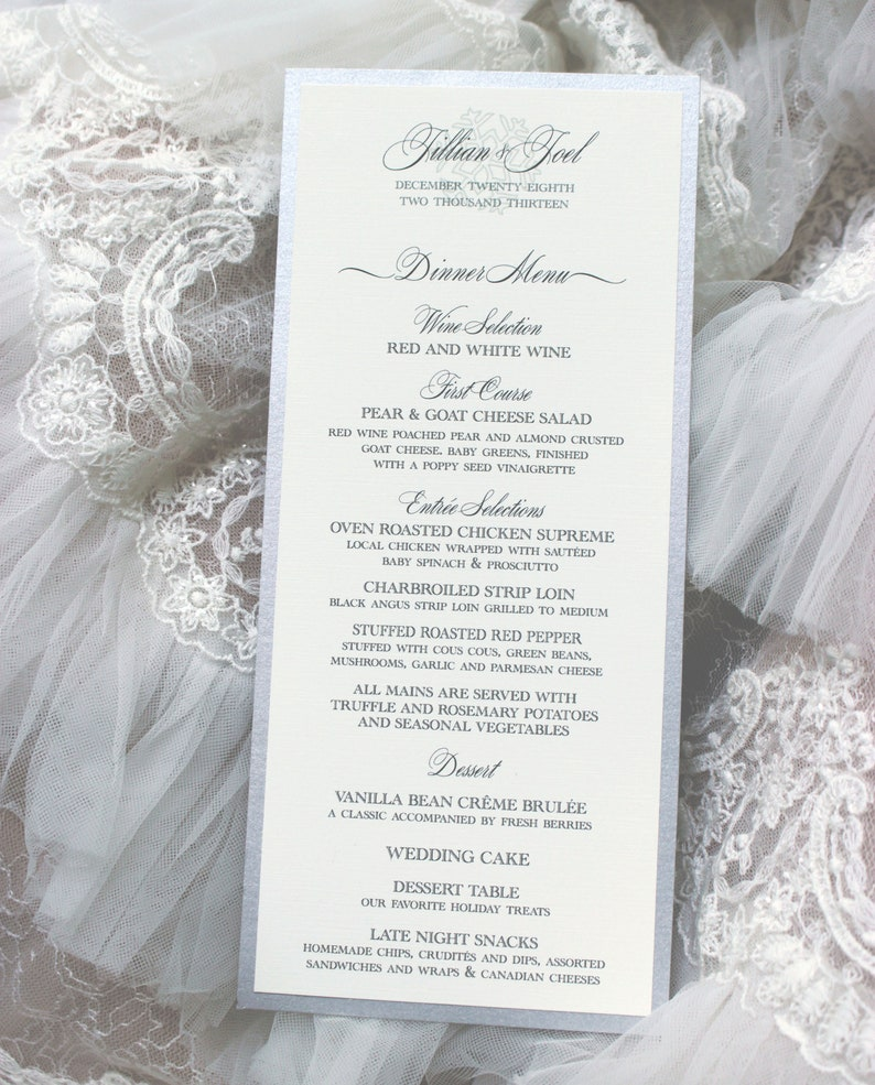 Silver Wedding Menu, Winter Wedding Menu, Snowflake Menu, Formal Wedding  Menu, The Winter Wedding Menu PRINTED OR PRINTABLE, Free Shipping