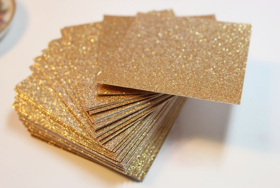 Great Gold Glitter Cardstock / Wedding Invitations And Favor Tags / Party Tag /  Wedding Supplies / Set Of 25 Blank Gold Glitter Paper Squares From ...