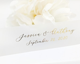 Gold Foil Vellum Belly Bands for 5 x 7 Wedding Invitations