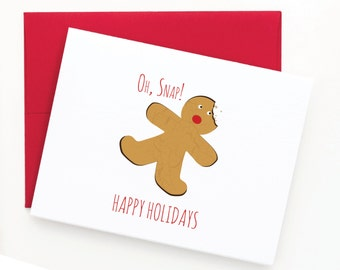 Funny Christmas Cards, Holiday Greeting Cards, OH Snap Card, Candy Cane and Gingerbread Man Card Set (Set of 24)