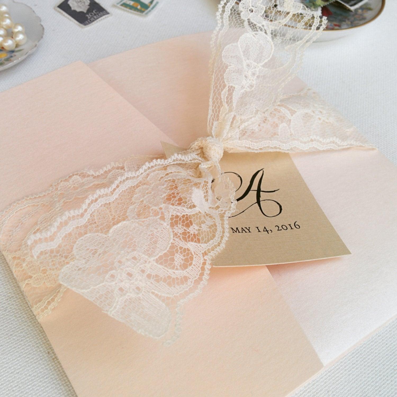 Wedding Invitations With Lace: Blush Wedding Invites Pocketfold Invites Lace Invitations
