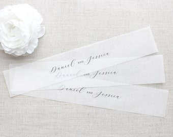 Vellum Name Bands, Personalized Belly Band for 5 x 7 Invitations, Personalized Vellum Bands, Custom Vellum Belly Bands for Invitations