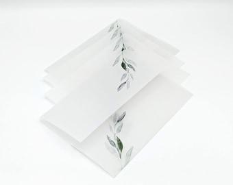 Greenery Vellum Wrap Printed Vellum Jackets For 5 x 7 Wedding Invitations, Vellum Paper Wrap Vellum Invitation Jacket Wedding Supplies