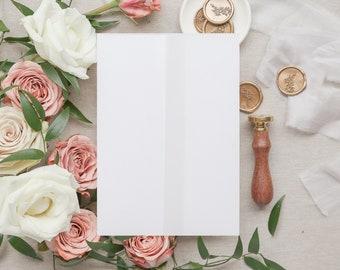 Vellum Jacket Sample, Vellum For 5 x 7 Wedding Invites, Vellum Wraps Diy Wedding Invitation Supplies, Vellum Paper, SAMPLE VELLUM JACKET