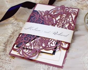 Burgundy Wedding Invitation, Laser Cut Wedding Invitation, Rose Wedding Invitation, Blush Wedding Invite, Melina Wedding Invite SAMPLE