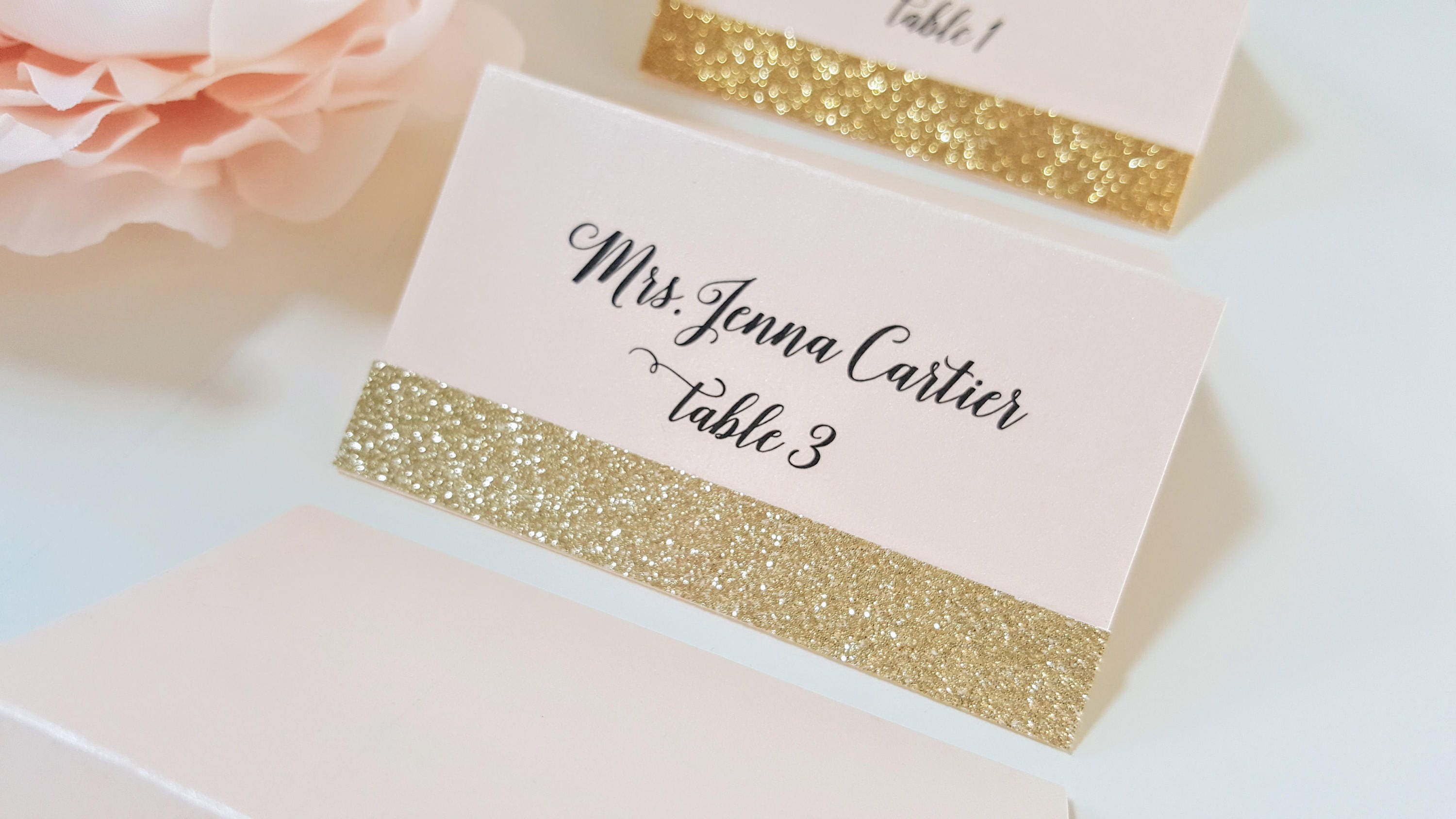 Gold Glitter Wedding Place Cards Blush And Gold Place Card Etsy