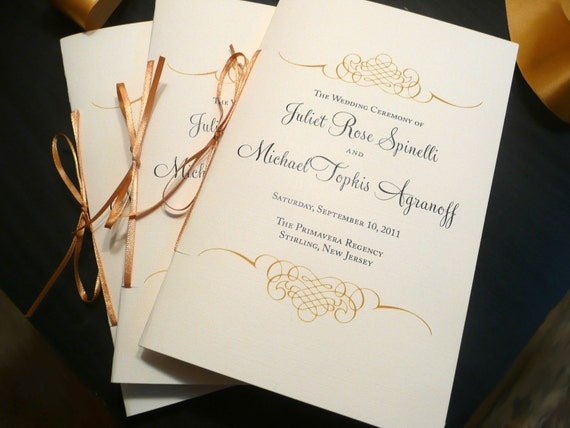 Wedding Program Booklet / Gold Programs / Jewish Wedding | Etsy