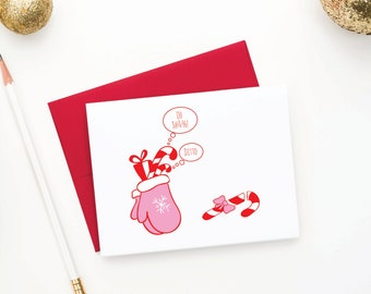Funny Holiday Cards, Candy Cane Cards, Red Christmas Cards, Holiday Card Set, Greeting Cards, Funny Candy Cane Card Set (Set of 12)