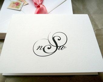 Wedding Thank You Cards, Personalized Wedding Stationary, Folded Note Cards, Bridal Stationery, Personalized Monogram Thank You Cards
