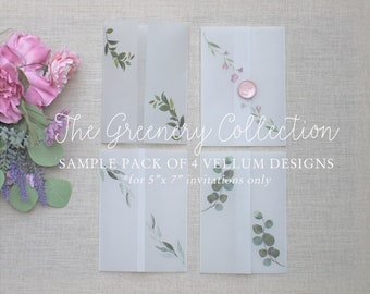 Printed Vellum Jacket Samples, Greenery Vellum Wrap For 5 x 7 Invitations, Diy Wedding Invite Supplies, Set of 4 Vellum Jacket Samples