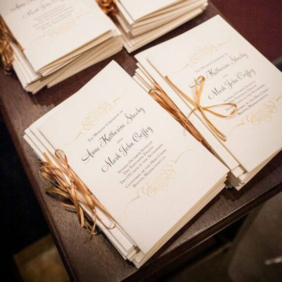 gold wedding programs catholic wedding program wedding etsy