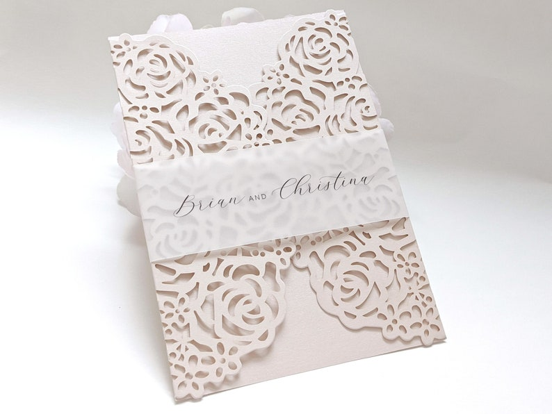 Personalized Vellum Belly Bands for 5 x 7 Invitations Wedding image 0