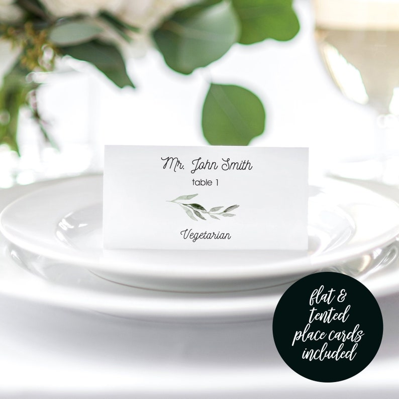 Place Card with Meal Choice Place Card Template Greenery image 0
