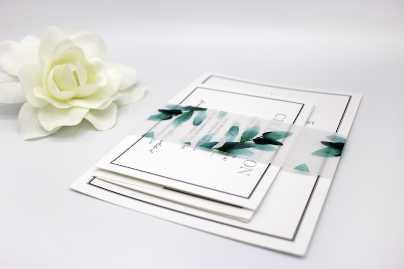 Greenery Vellum Belly Bands for 5 x 7 Invitations and Cards image 0