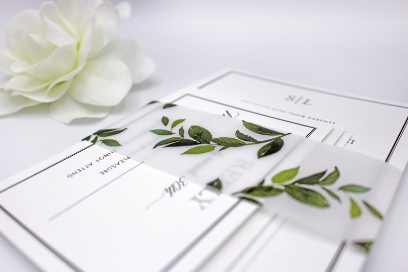 Forest Leaf Vellum Belly Bands for 5 x 7 Invitations and image 0