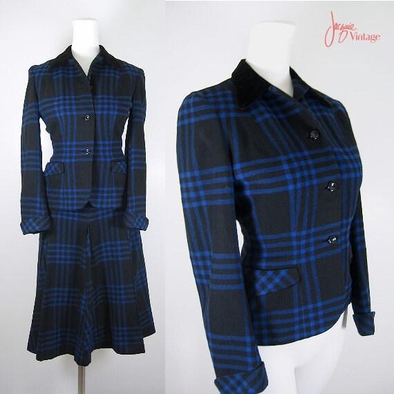 vintage 40s 50s ladies plaid suit / 50s black blu… - image 1