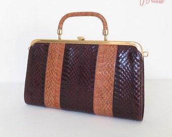 80s clutch purse / 80s vintage snakeskin clutch bag / brown oxblood red and tan snakeskin flat clutch bag / 80s snakeskin handbag
