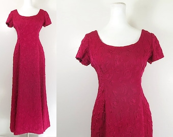 vintage pink red evening dress cherry red pink princess evening gown formal dress short sleeve long dress / Holt Renfrew / size medium