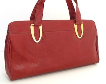 70s vintage large clutch purse bag maroon rust red mod italian handbag Eva Italy