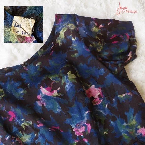 50s 60s wiggle dress / 50s floral cocktail dress … - image 5