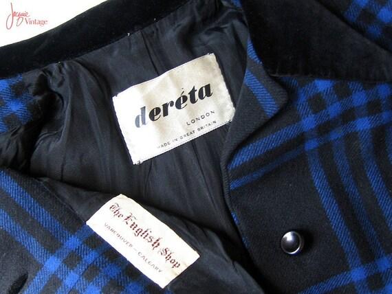 vintage 40s 50s ladies plaid suit / 50s black blu… - image 5