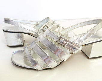 vtg 60s 70s metallic silver strappy cage sandals vintage silver sandals chunky heel sandals mod go-go size 7