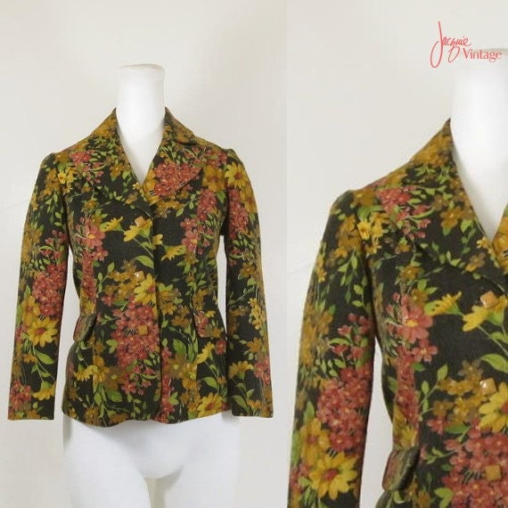 70s jacket / vintage 70s ladies blazer / 70s black