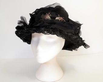 50s hat / 50s black picture hat / 50s vintage hat / black cello straw silk flower hat / womens 50s fashion hat / black ladies hat