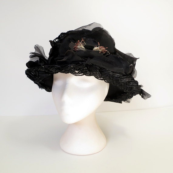 50s hat / 50s black picture hat / 50s vintage hat