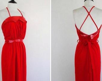 70s 80s Disco dress- Vintage Red Sequins