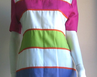 80s vintage  mod  colorblock dress