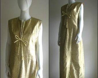 60s vintage gold party dress