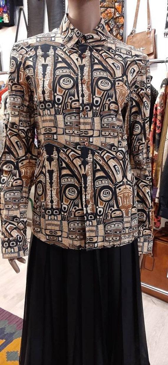 Jean Paul Gaultier vintage ethnic print cotton sh… - image 4