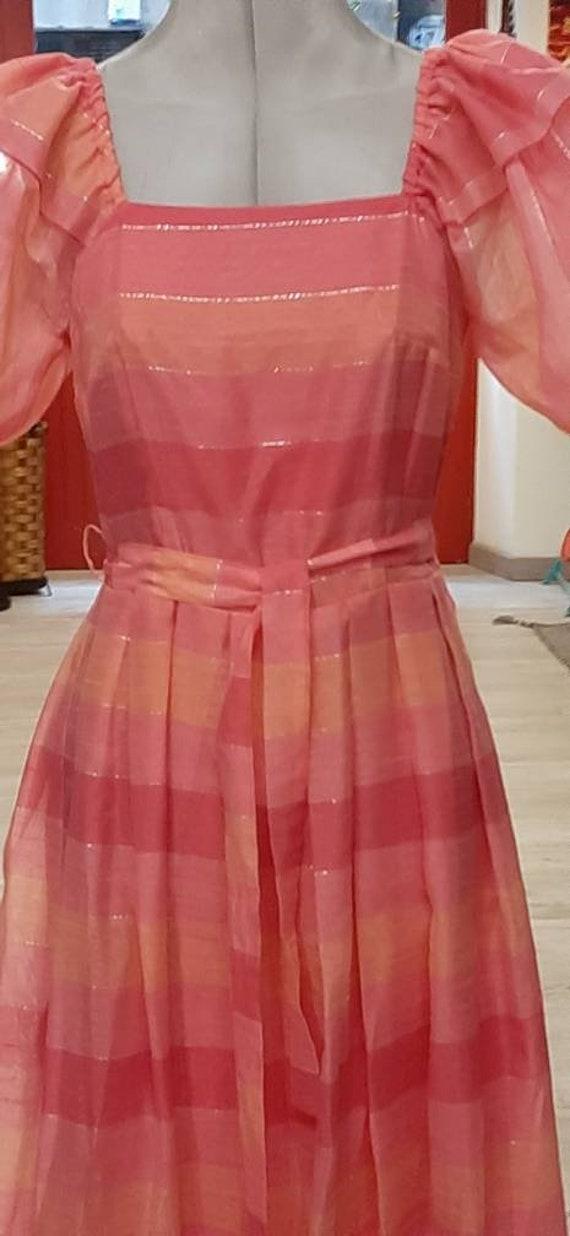 Boho Pink Maxi Dress vintage 80s