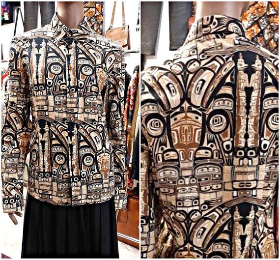 Jean Paul Gaultier vintage ethnic print cotton sh… - image 1