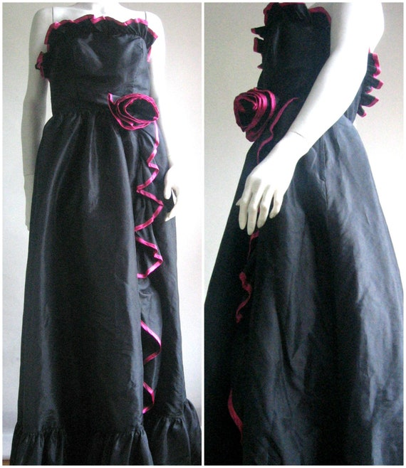 70s Party Dress/Black Gown/Pink
