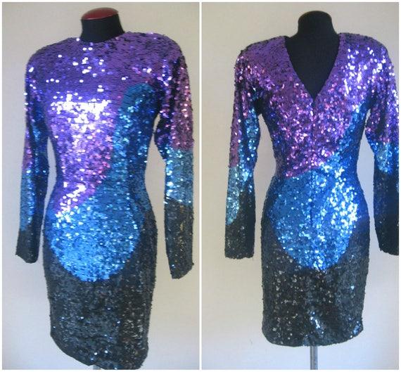 sequins 70s 80s vintage  glam dress