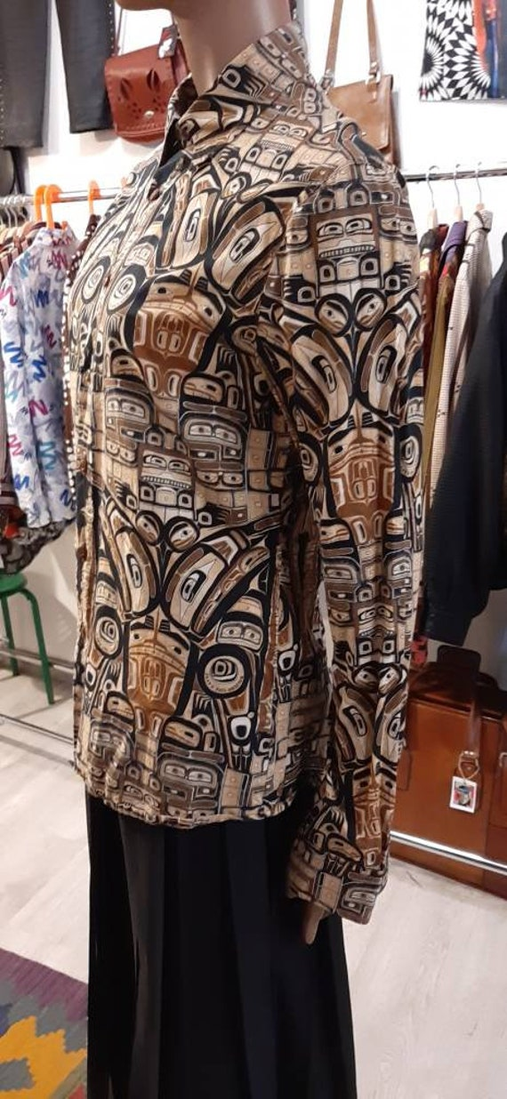 Jean Paul Gaultier vintage ethnic print cotton sh… - image 6