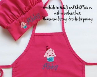Personalized Apron for Kids - Children's Personalized Apron and Chef Hat - Cupcake - Custom Adult Apron