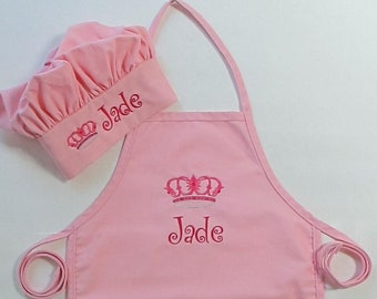 Personalized Apron AND Chef Hat for Kids - Childrens Personalized Apron and Chef Hat - Princess Crown