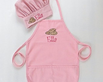 ae8155f6687 Personalized Apron AND Chef Hat for Kids - Childrens Personalized Apron and Chef  Hat - Cookies