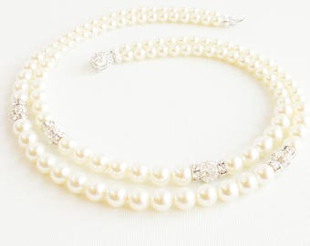 Pearl Statement Bridal Necklace, Pearl Bridal Necklace, Multi Strand Bridal Necklace, Bridal Statement Necklace, Art Deco Bridal Necklace