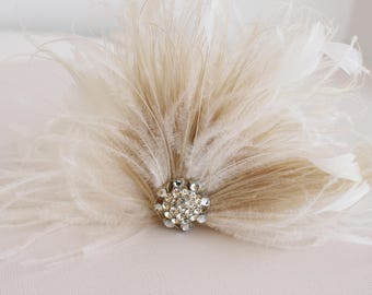 Wedding Feather Flower, Bridal Feather Headpiece, Bridal Feather Accent, Feather Adornment, Bridal Feather Flower, Feather Fascinator