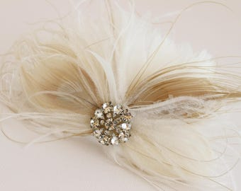 Bridal Feather Headpiece, Bridal Feather Accent, Feather Adornment, Bridal Feather Flower, Feather Fascinator, Wedding Feather Flower