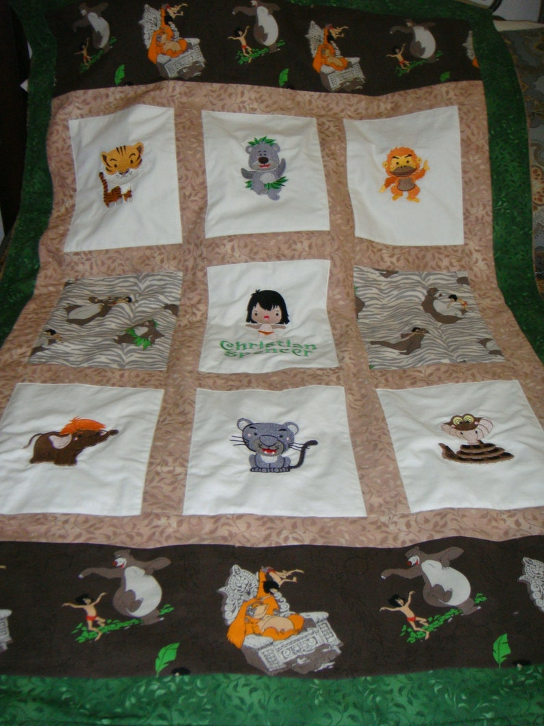 Choose fabrics /& images Boys or Girls 34 X 50 Custom Embroidered Jungle Book Quilt Payment Plan available