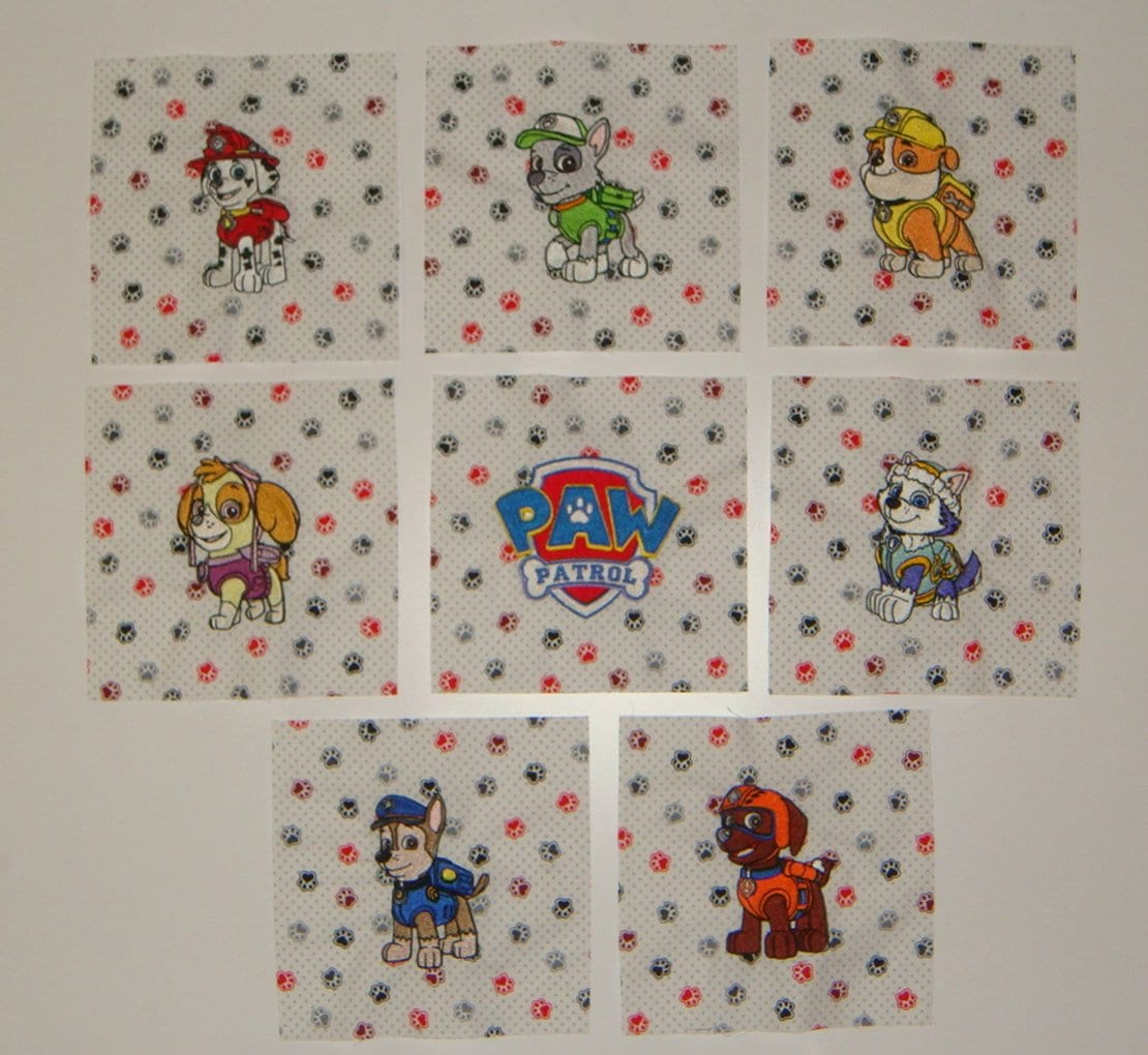 Embroidered Paw Patrol Quilt Blocks - Ryder - Chase - Rubble - Zuma -  Marshall - Skye - Everest - Tracker - Paw Patrol Logo and Badges