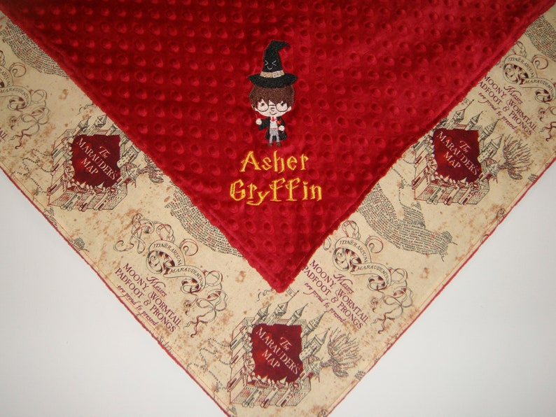 Choose your character and fabrics Custom Embroidered Harry Potter Minky Blanket Minky Blanket Baby Blanket Wizard Blanket.