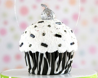 zebra print christmas ornament cupcake ornament animal print jungle party safari print zebra print decorations zoo party safari - Christmas Zebra Decorations